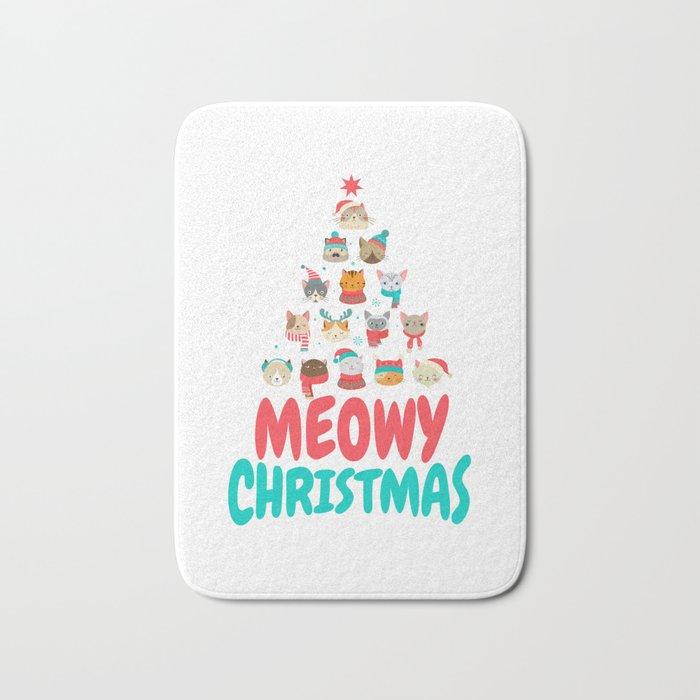 Meowy Christmas.Meowy Christmas Cat Xmas Tree Decoration Bath Mat By Anziehend
