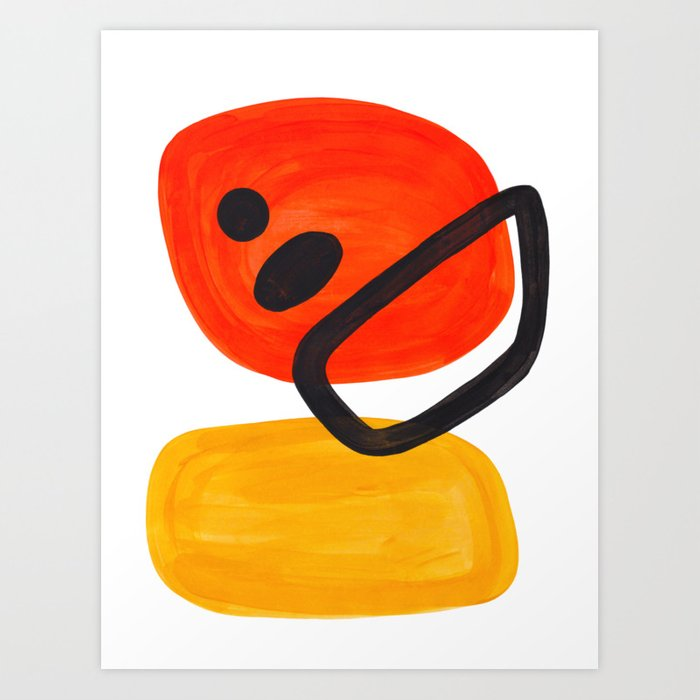 Midcentury Modern Colorful Abstract Pop Art Space Age Fun Bright Orange Yellow Colors Minimalist Kunstdrucke