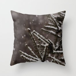 Snow Upon the Branches (Color) Throw Pillow