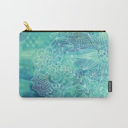 Green Abstract with Doodles Carry-All Pouch