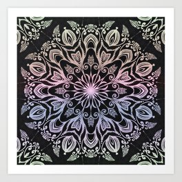 Coloring on the dark bacground hand drawn mandala Art Print