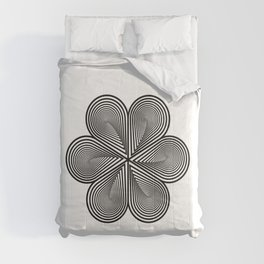 Flower optical illusion design in black and white Comforters