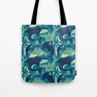 sharks Tote Bags featuring Sharks by Dani Tea