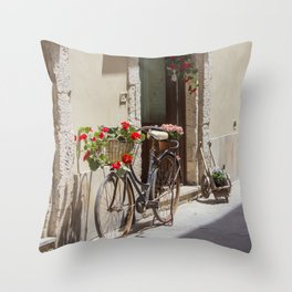 Bicycle in Syracuse Throw Pillow