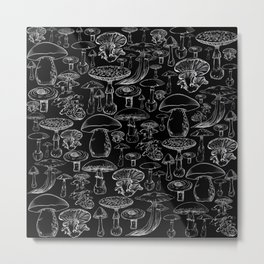 Black Mushrooms Metal Print