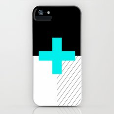 Neon Cross (Blue) // Neon Plus (Blue) iPhone (5, 5s) Slim Case