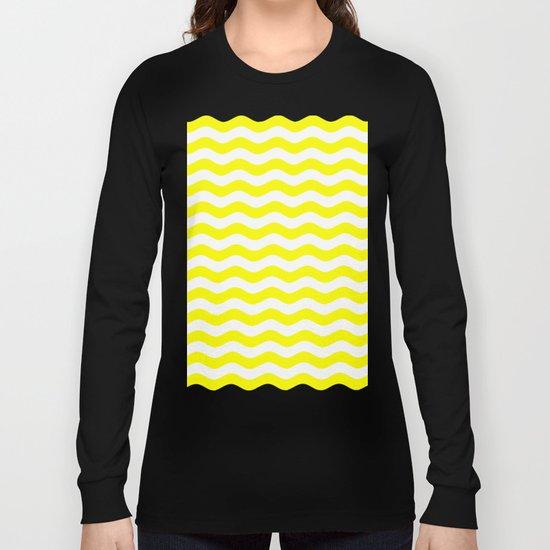 Wavy Stripes (Yellow/White) Long Sleeve T-shirt