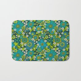 Flower power blue Bath Mat