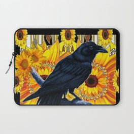 GRAPHIC BLACK CROW & YELLOW SUNFLOWERS ABSTRACT Laptop Sleeve
