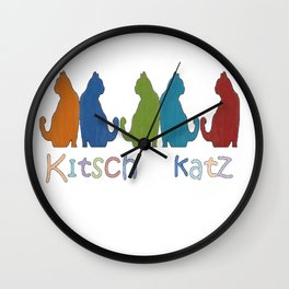 Kitsch Cats Silhouette Cat Collage Pattern Isolated  Wall Clock