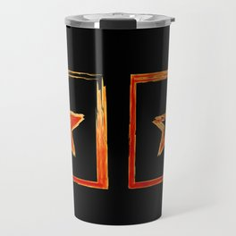 Fire star in red and blue color on a black background. Travel Mug