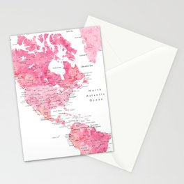Pink detailed watercolor world map with cities Azalea Stationery Cards