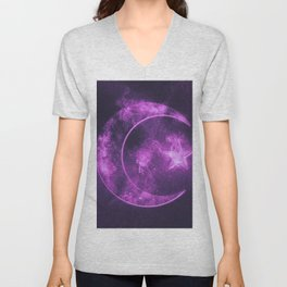 Symbol of Islam. Star and crescent moon. Abstract night sky background. Unisex V-Neck