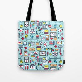 Proud To Be a Nurse Pattern / Blue Tote Bag