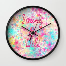 Young & Wild | Girly neon Pink Teal Abstract Splatter Typography Wall Clock