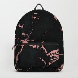 Black rose-gold marble Backpack