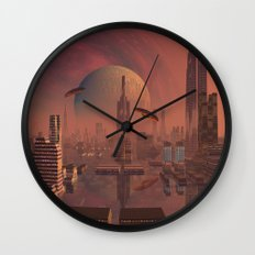 Futuristic City with Space Ships Wall Clock