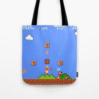 mario bros Tote Bags featuring Super Mario Bros by Trash Apparel