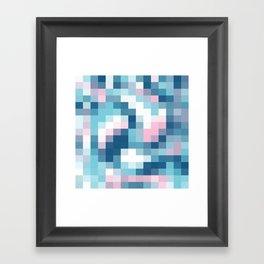 Mat Map Squares Aqua Framed Art Print