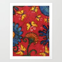 Batik butterflies and flowers on red Art Print