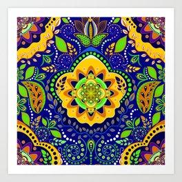 Bono Fantasy Pattern Yellow and Blue Art Print
