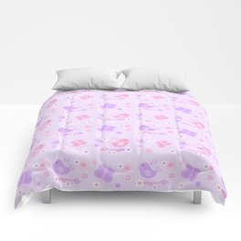 Chickadee Bird Butterfly Floral Purple Lavender Pink Comforters