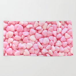 Pink Candy Hearts Beach Towel