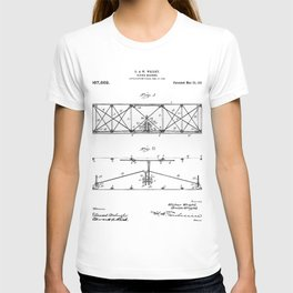 Wright Brother's Plane Patent - Aviation Art - Black And White T-shirt