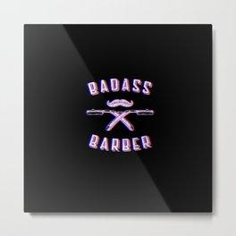 Bad barber Funny Vintage Classic Barber Retro Distressed Gift Metal Print
