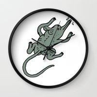 rat Wall Clocks featuring Rat by Jon Boam