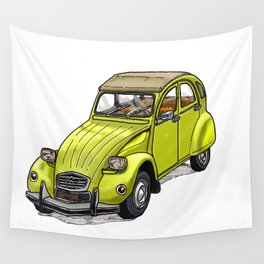 Yellow 2CV Wall Tapestry