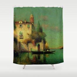 Gondolier à Venise - Venice, Italy landscape painting by Antonie Bouvard Shower Curtain