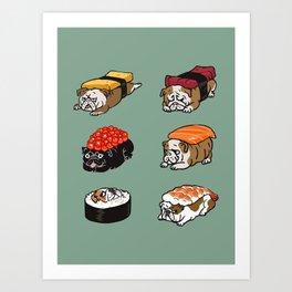 Sushi English Bulldog Art Print
