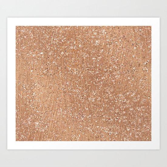 Rose gold brushstrokes and glitter Art Print