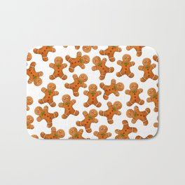 Sweet brown red christmas ginger bread man Bath Mat