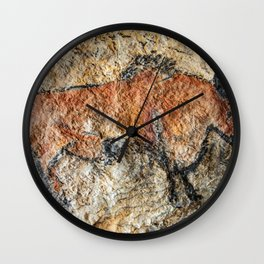 Cave painting in prehistoric style Wall Clock