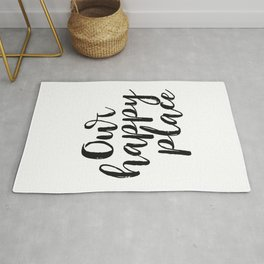 Our Happy Place Printable Kitchen Wall Art Digital Download Love Quote Black and White Large Poster Rug