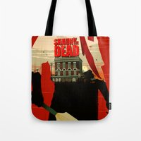 shaun of the dead Tote Bags featuring Shaun Of The Dead by Duke Dastardly