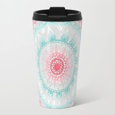 Teal & Coral Glow Medallion Travel Mug