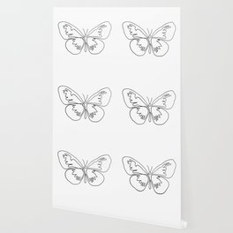 Butterfly One Line art in black and white Wallpaper