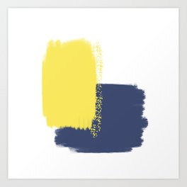 Calm & Happy Abstract Painting Yellow Blue Art Print