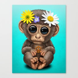 Cute Baby Monkey Hippie Canvas Print