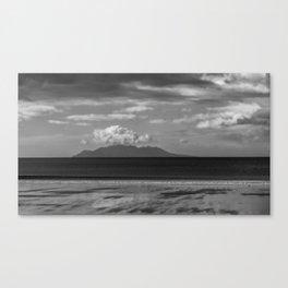 Black and white image of Little Waiheke Island in New Zealand Canvas Print