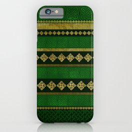 Celtic Knot Decorative Gold and Green pattern iPhone Case