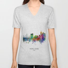 Hong Kong Skyline Unisex V-Neck