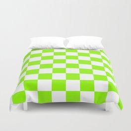 Green, Lime: Checkered Pattern Duvet Cover