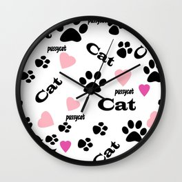 Traces of cats Wall Clock