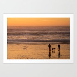 People and Dog Silhouettes on the Beach at Sunset, San Francisco Ocean Beach Photography, California Coast Beach Art Art Print