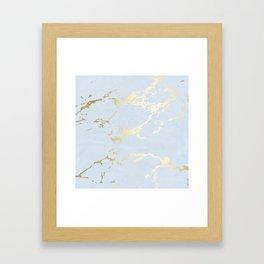 Kintsugi Ceramic Gold on Sky Blue Framed Art Print