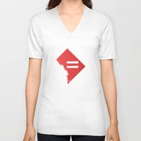 dc V-neck T-shirts featuring DC Love by Tank Top Sunday